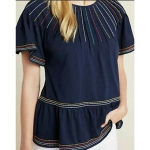 anthropologie maeve embroidered flutter sleeve tee